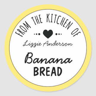 Modern Yellow From the Kitchen of Label Classic Round Sticker