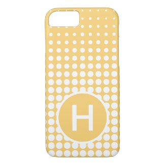 Modern Yellow Gold White Dots Pattern Monogram iPhone 8/7 Case