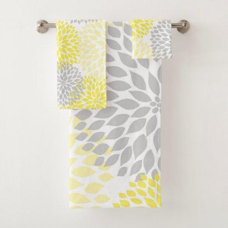 Modern Yellow Gray floral bath decor Bath Towel Set