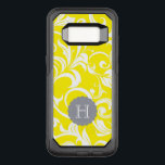 "Modern Yellow Gray Floral Wallpaper Swirl Monogram OtterBox Commuter Samsung Galaxy S8 Case<br><div class=""desc"">Sparkle Motion presents our newest range of the prettiest floral monogram phone cases available! This new pattern features yummy bright banana yellow wallpaper swirls and with an elegant gray monogram space for your custom initial.</div>"
