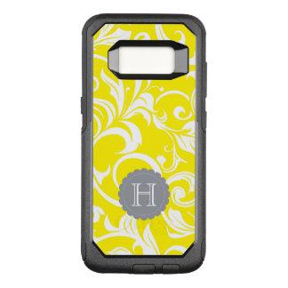 Modern Yellow Gray Floral Wallpaper Swirl Monogram OtterBox Commuter Samsung Galaxy S8 Case