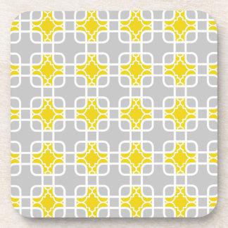 Modern Yellow & Gray Geometric Pattern Beverage Coaster