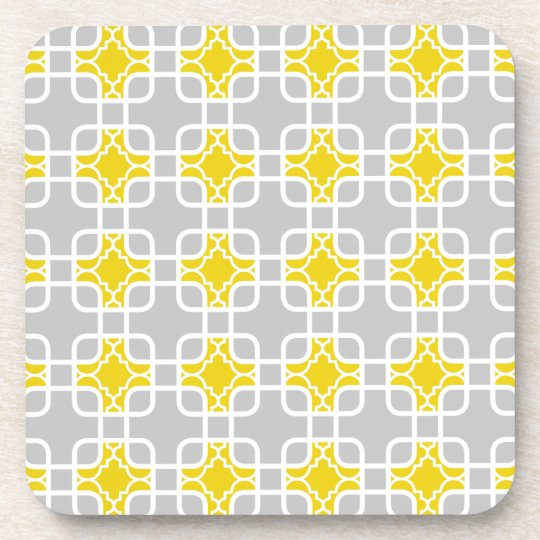 Modern Yellow & Gray Geometric Pattern Beverage Coaster