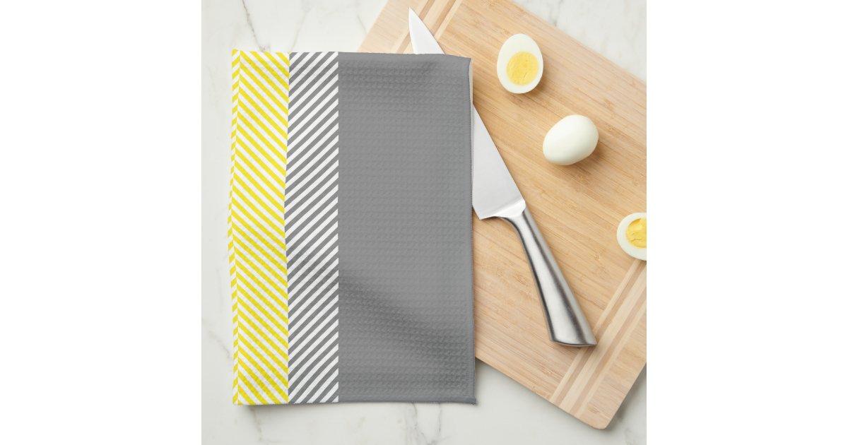 Modern Yellow Gray Geometric Stripes Pattern Kitchen