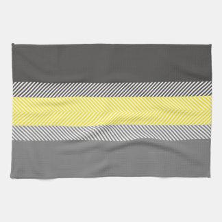 Modern Yellow & Gray Geometric Stripes Pattern Kitchen Towel