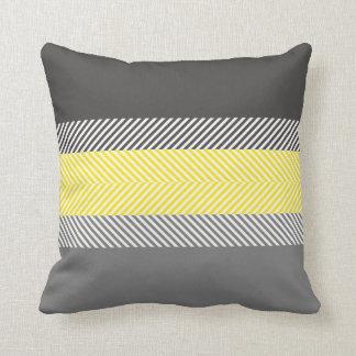 Modern Yellow & Gray Geometric Stripes Pattern Pillows