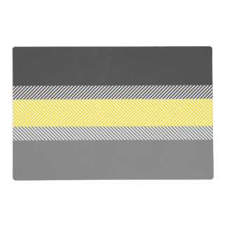 Modern Yellow & Gray Geometric Stripes Pattern Placemat