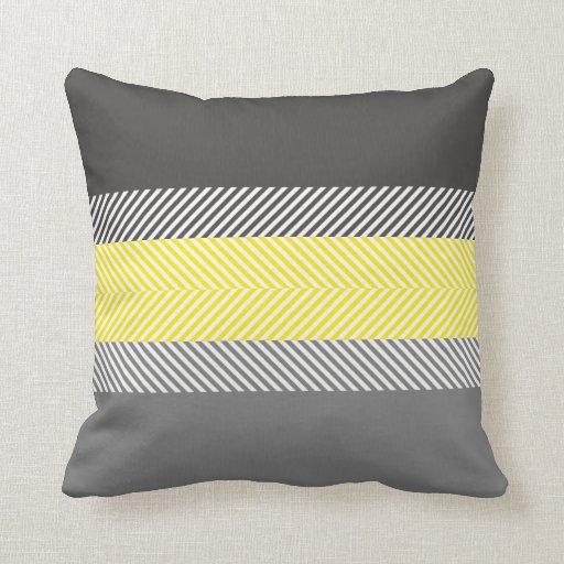 Modern Geometric Pillows : Modern Yellow & Gray Geometric Stripes Pattern Throw Pillow Zazzle