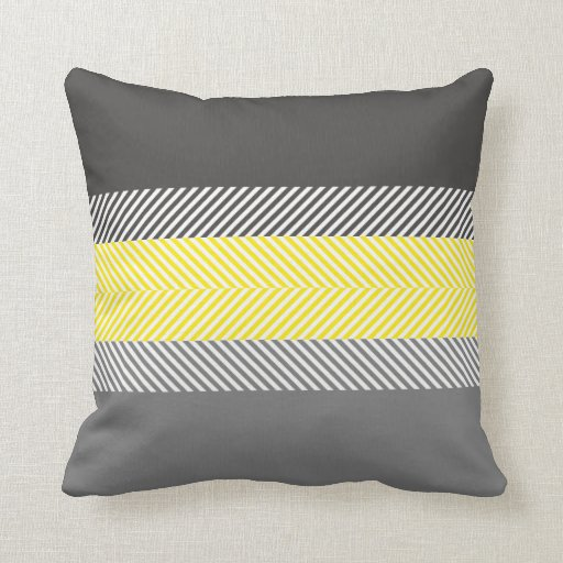 Modern Yellow & Gray Geometric Stripes Pattern Throw Pillow Zazzle