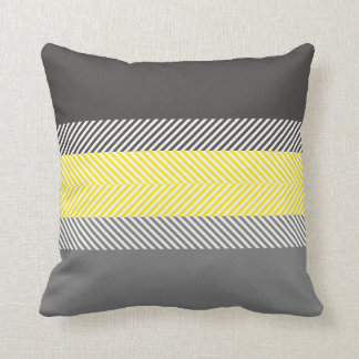 Modern Yellow & Gray Geometric Stripes Pattern Throw Pillow