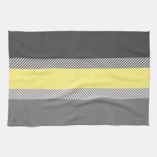 Modern Yellow & Gray Geometric Stripes Pattern Towel at Zazzle