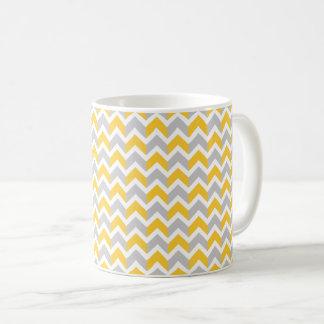 Modern Yellow Gray White Chevron Pattern Coffee Mug