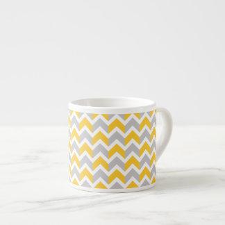Modern Yellow Gray White Chevron Pattern Espresso Cup