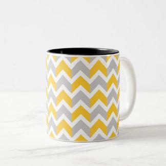 Modern Yellow Gray White Chevron Pattern Two-Tone Coffee Mug