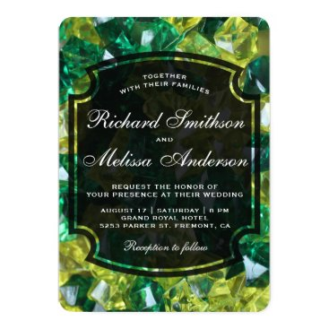 Wedding Themed Modern Yellow Green Gemstones Wedding Invitation
