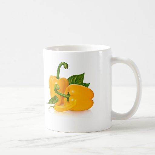 Modern Yellow Green Grocery Pattern Mugs