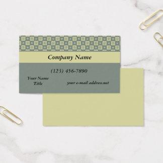Modern Yellow Grey Checkerd Pattern Business Card