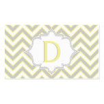 Modern yellow, grey chevron monogram personalized business card templates