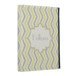 Modern yellow, grey, chevron pattern custom iPad folio covers