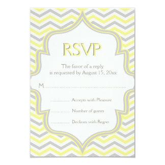 Modern yellow grey chevron zigzag wedding RSVP Card
