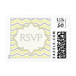 Modern yellow grey chevron zigzag wedding RSVP Postage