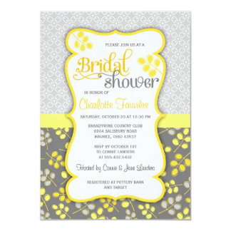 Modern Yellow & Grey Elegant Bridal Shower 4.5x6.25 Paper Invitation Card