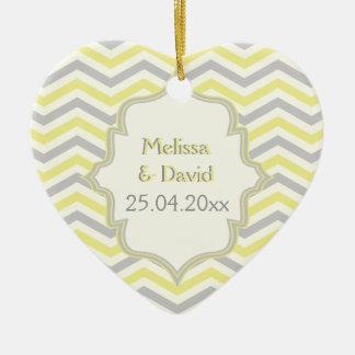 Modern yellow, grey, ivory chevron pattern custom ceramic ornament