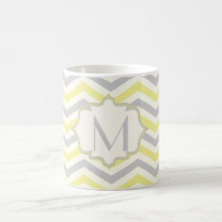 Modern yellow, grey, ivory chevron pattern custom classic white coffee mug