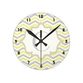 Modern yellow, grey, ivory chevron pattern custom wall clocks