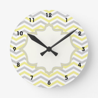 Modern yellow, grey, ivory chevron pattern custom round clock