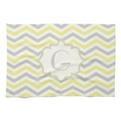 Modern yellow, grey, ivory chevron pattern custom towels