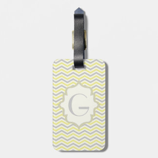Modern yellow, grey, ivory chevron pattern custom luggage tag