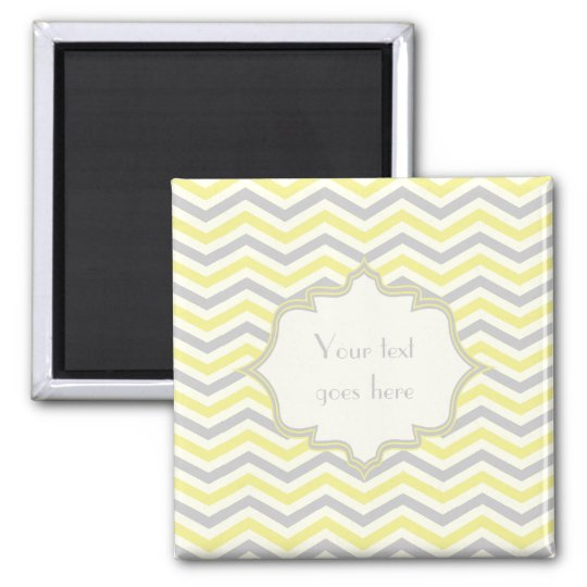 Modern yellow, grey, ivory chevron pattern custom magnet