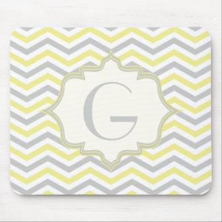Modern yellow, grey, ivory chevron pattern custom mouse pad