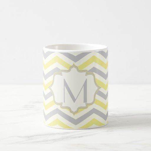 Modern yellow, grey, ivory chevron pattern custom mug