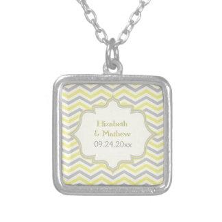 Modern yellow, grey, ivory chevron pattern custom pendant
