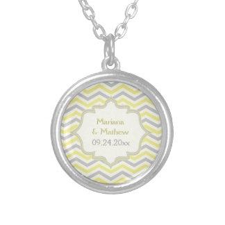 Modern yellow, grey, ivory chevron pattern custom personalized necklace