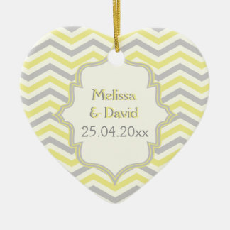 Modern yellow, grey, ivory chevron pattern custom Double-Sided heart ceramic christmas ornament