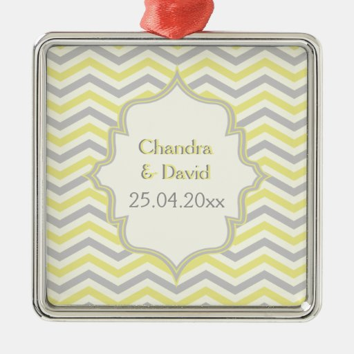 Modern yellow, grey, ivory chevron pattern custom square metal christmas ornament