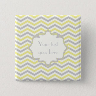Modern yellow, grey, ivory chevron pattern custom pinback button