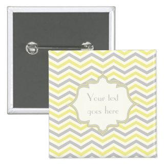 Modern yellow, grey, ivory chevron pattern custom pinback button