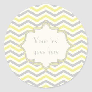 Modern yellow, grey, ivory chevron pattern custom round sticker