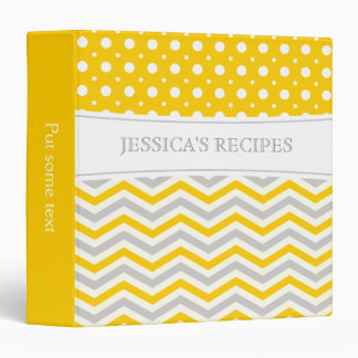 Modern yellow, grey, white chevron & polka dot 3 ring binder