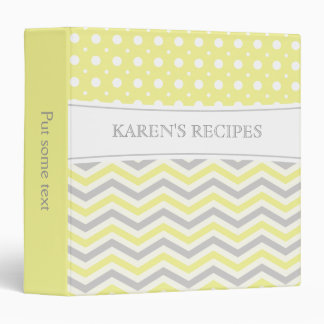 Modern yellow, grey, white chevron & polka dot binder