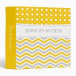 Modern yellow, grey, white chevron & polka dot binders