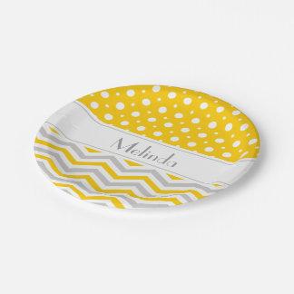 Modern yellow, grey, white chevron & polka dot paper plate