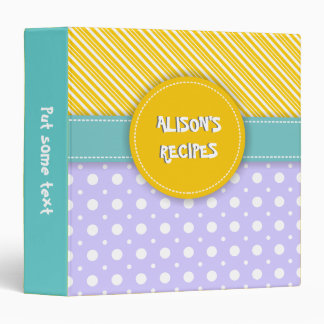 Modern yellow, lavender, aqua polka dot & stripes 3 ring binder