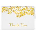 Modern Yellow Leaf Flourish Thank You Note Greeting Card