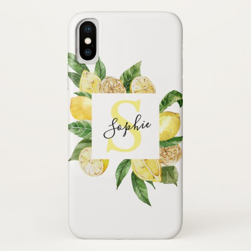 Modern Yellow Lemons Frame & Leaves With Name iPhone XS Case