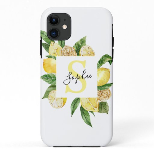 Modern Yellow Lemons Frame & Leaves With Name iPhone 11 Case